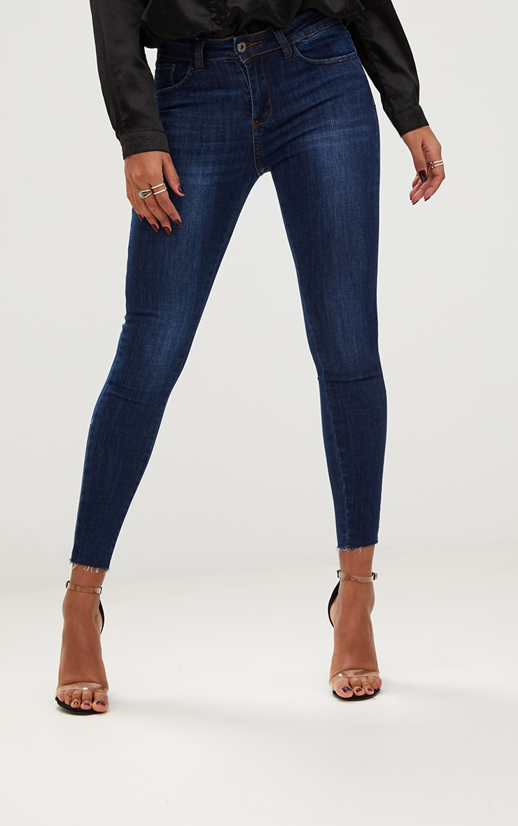 Dark Wash Raw Hem High Waisted Skinny Jean 2