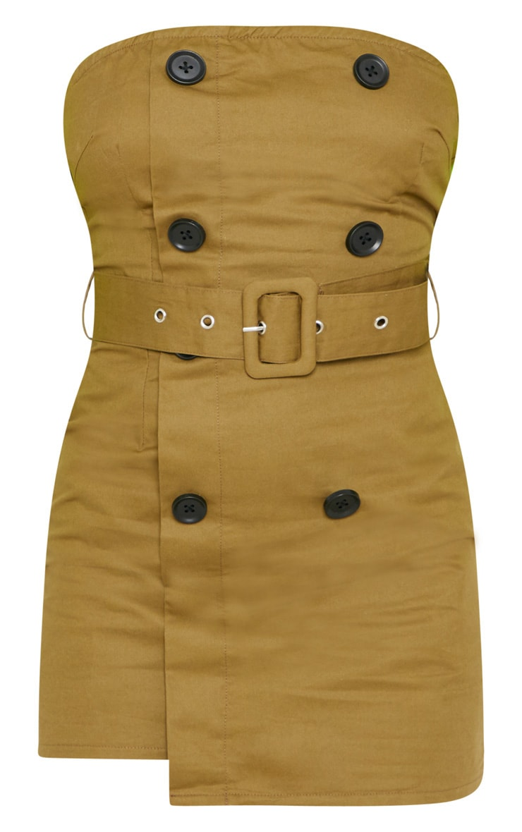 Petite Khaki  Bandeau Trench Dress 3