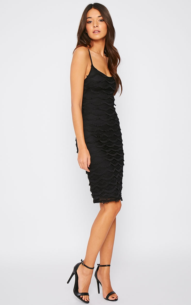 Hailey Black Eyelash Midi Dress 4