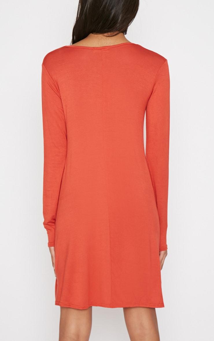 Rosie Burnt Orange Jersey Casual Swing Dress 2
