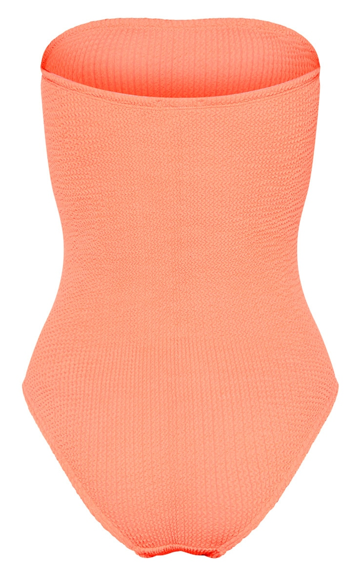 Coral Crinkle Strapless Swimsuit 6