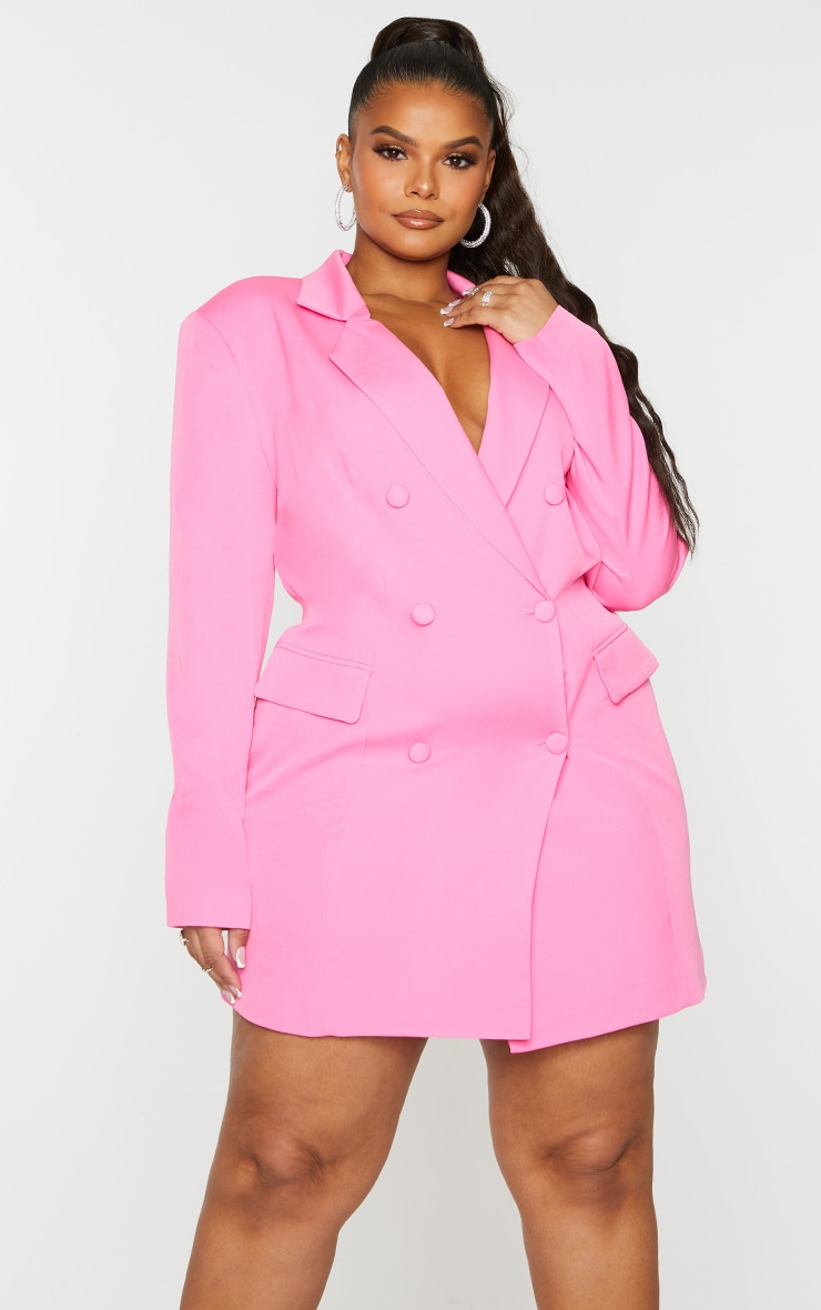 Plus Hot Pink Double Breasted Structured Blazer Dress 1
