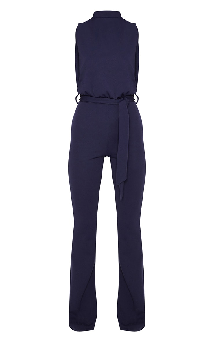 Navy Scuba High Neck Tie Waist Jumpsuit 3