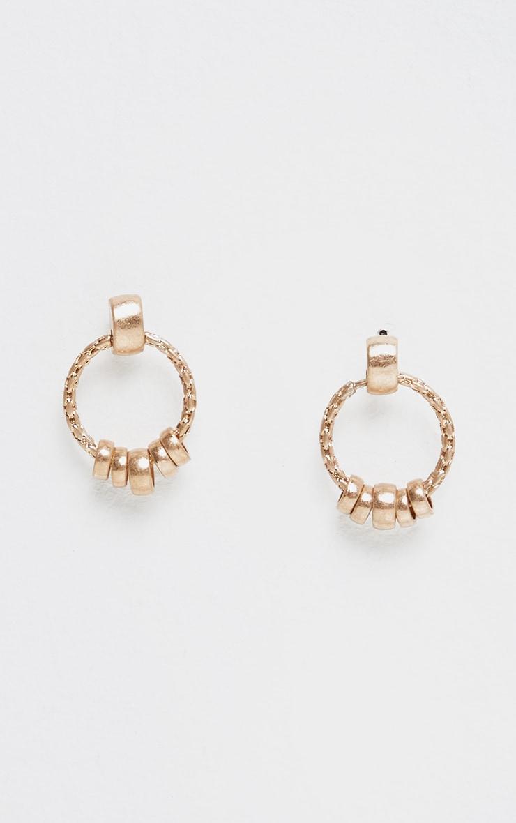 Gold Mini Door Knocker Hoop Earrings 1