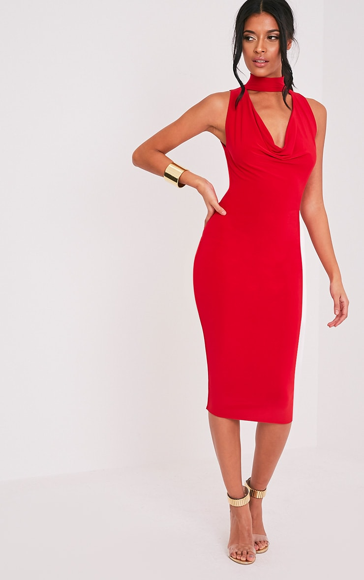 Nayasha Red Slinky Choker Wrap Midi Dress 1