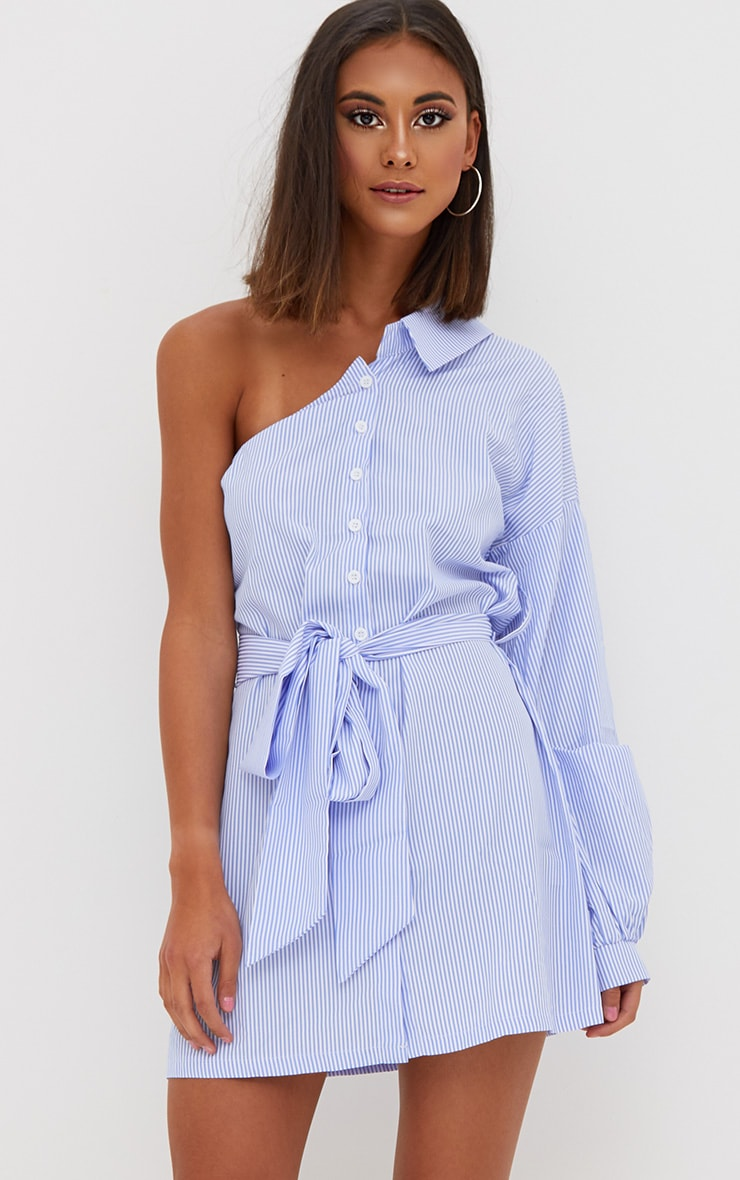 Blue Striped One Shoulder Shirt Dress 1