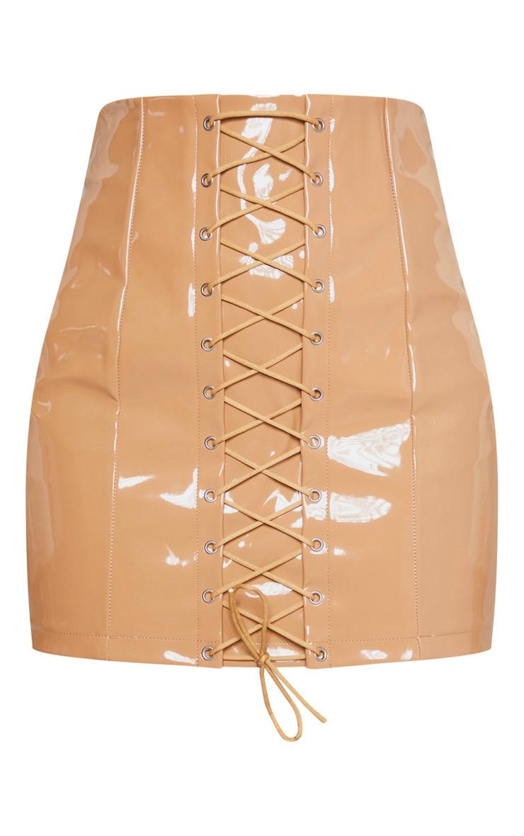 Camel Vinyl Lace Up Mini Skirt 3