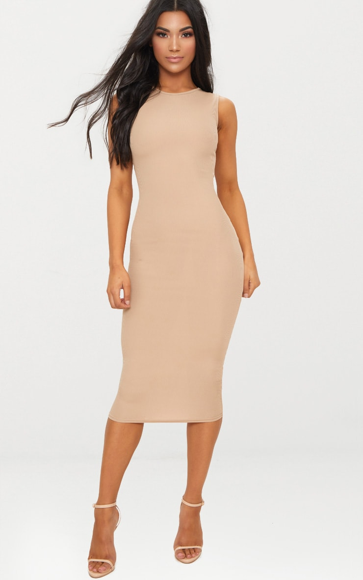 Basic Stone Ribbed Midi Dress 1