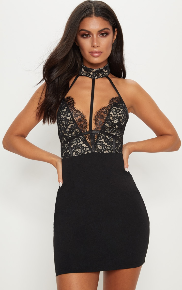 Black Lace Harness Detail Bodycon Dress  1