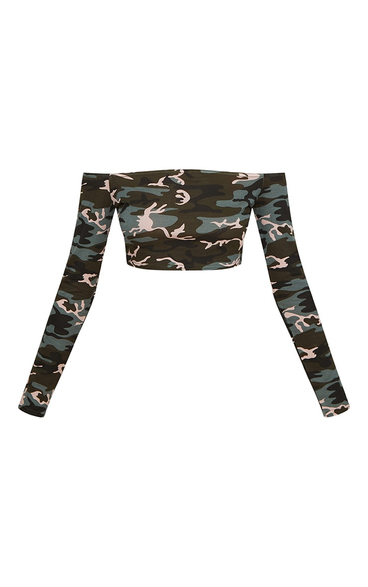 Khaki Camo  Bardot Crop Top 3