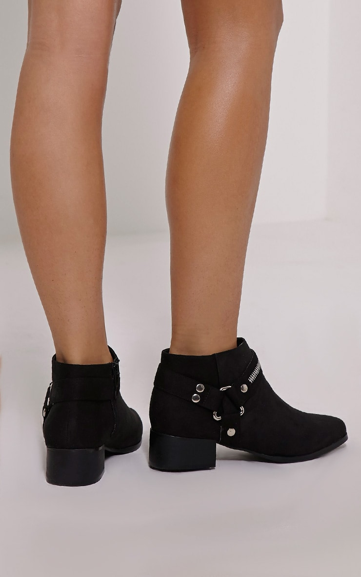 Kareena Black Suede Metal Detail Boots 2