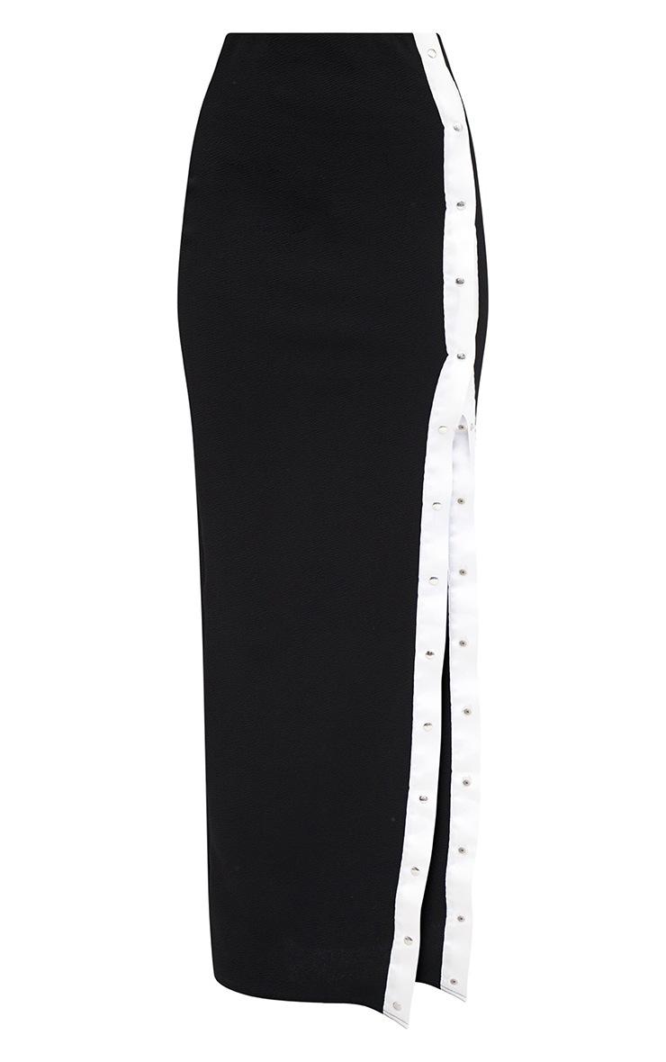 Petite Black Popper Detail Maxi Skirt 3