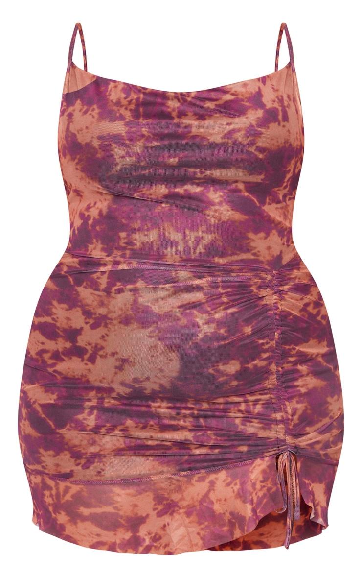 Plus Purple Tie Dye Print Mesh Ruched Bodycon Dress 5