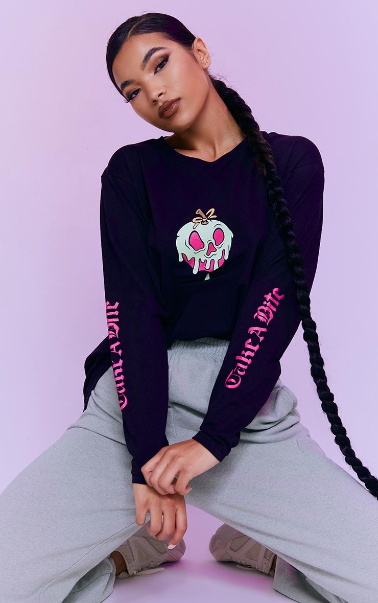 Black Disney Snow White Apple Arm Printed Long Sleeve T Shirt 1