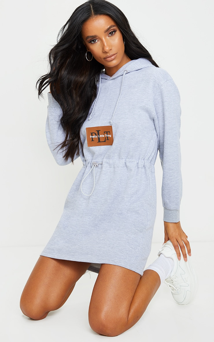 PRETTYLITTLETHING Grey Toggle Front Hoodie Sweater Dress 3