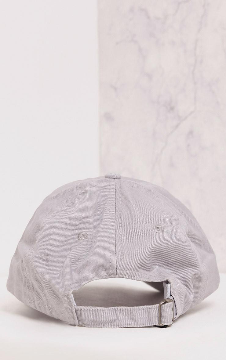 A Grey Slogan Baseball Cap 5