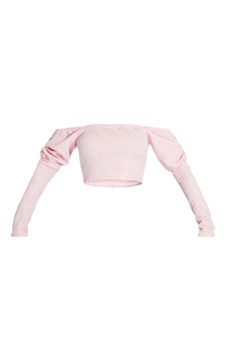 PRETTYLITTLETHING Pink Woven Jacquard Puff Sleeve Crop Top 5