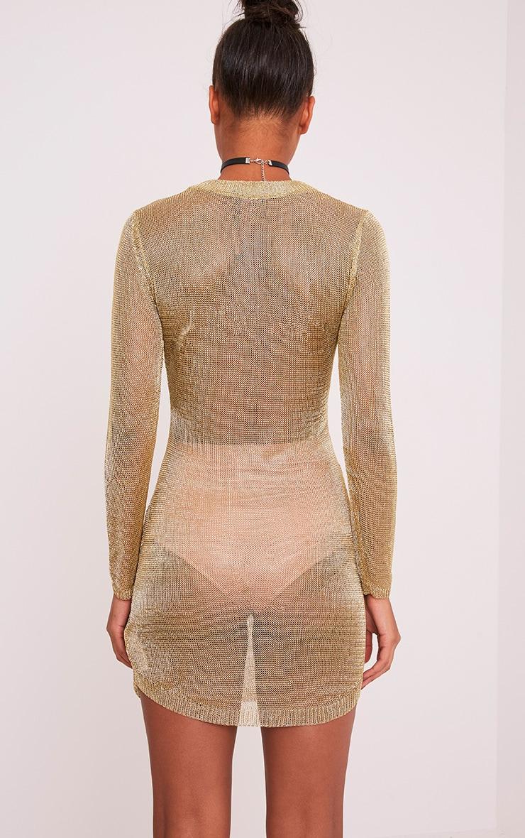 Acallia robe pull surdimensionné en maille or métallisé 2