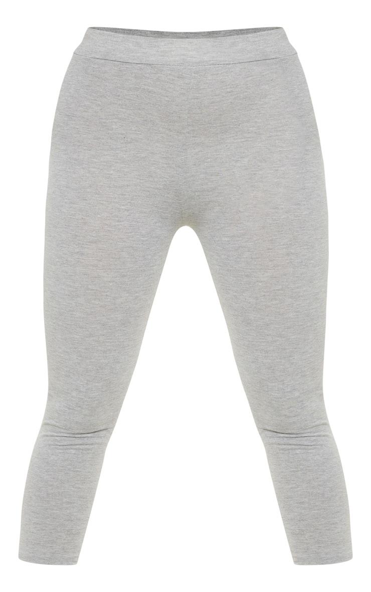 Grey Basic Cropped Jersey Leggings  3