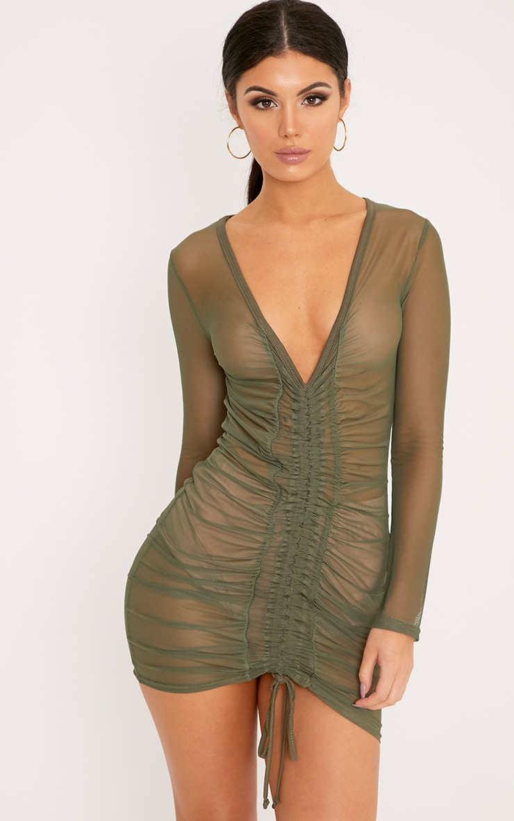 Lianna Khaki Mesh Ruched Bodycon Dress 1