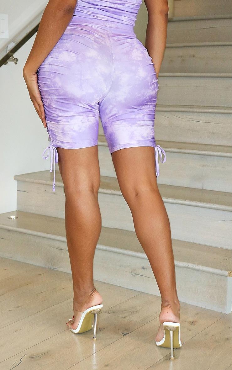Shape Lilac Tie Dye Slinky Ruched Side Bike Shorts 3