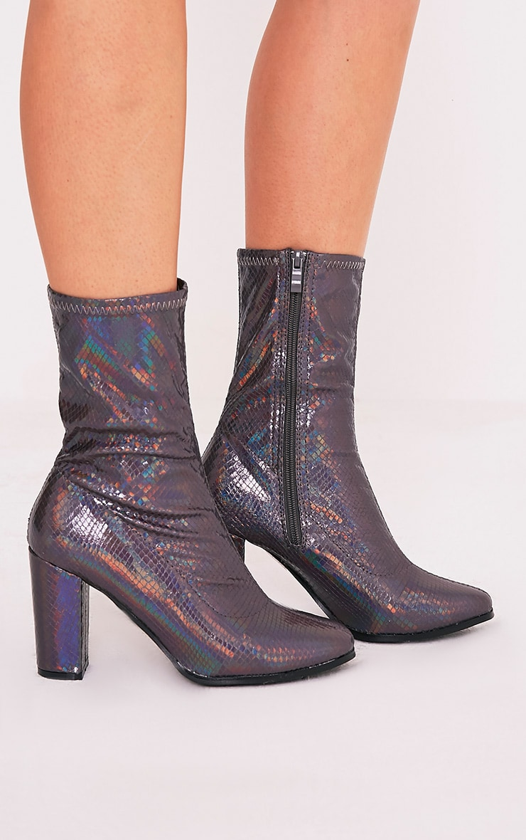Adreena Black Holographic Heeled Boots 2