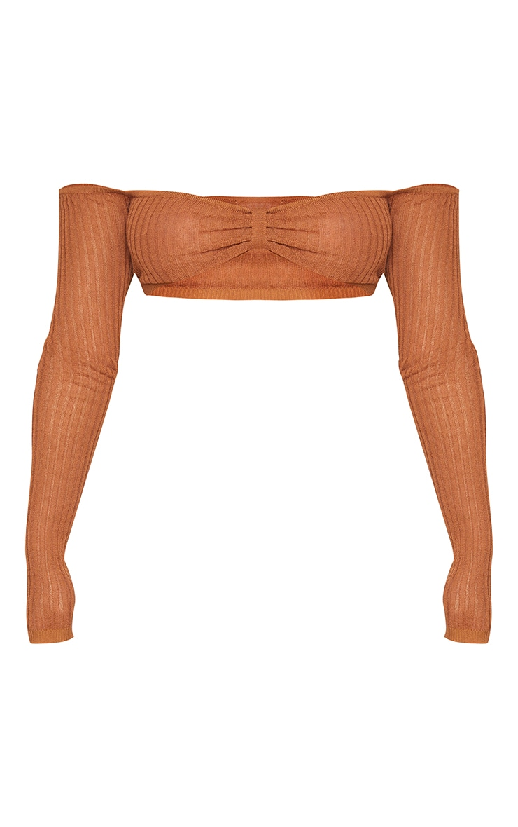 Rust Sheer Knit Bardot Twist Front Top 5
