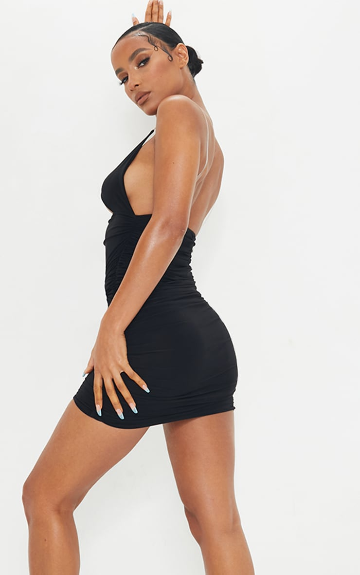 Black Slinky Clear Strap Detail Cut Out Ruched Bodycon Dress 2