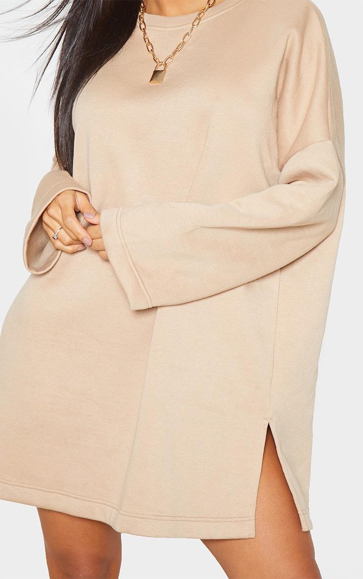 Sand Oversized Side Split Sweat Sweater Dress 5