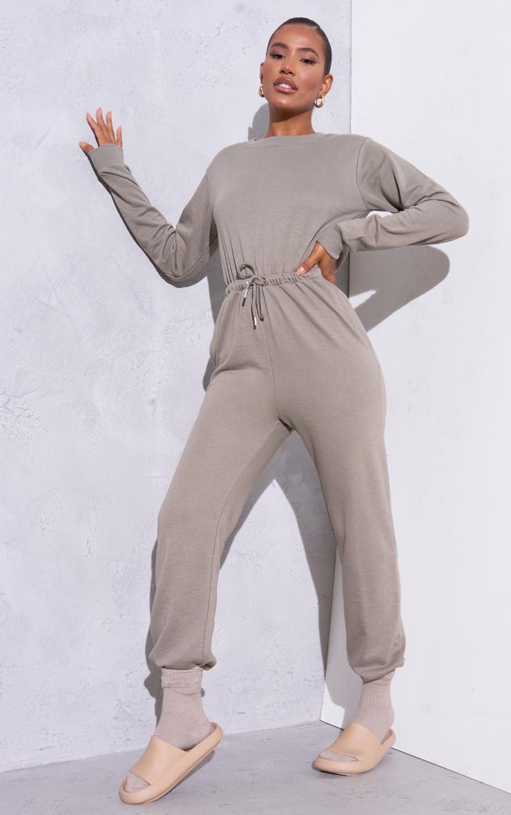 RENEW Light Khaki Long Sleeve Sweat Jumpsuit 1