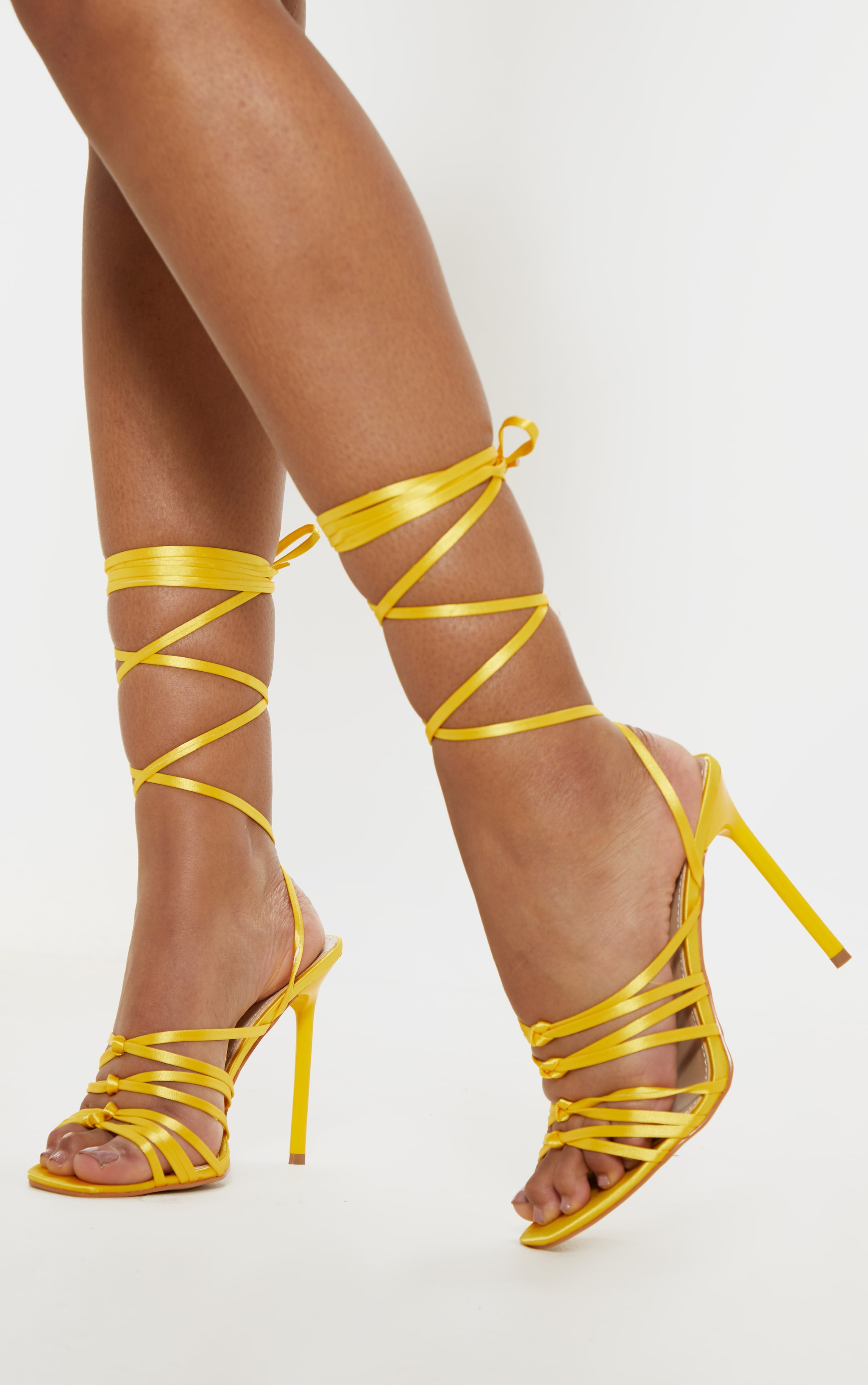Neon Yellow Satin Strappy Lace Up Sandal  1