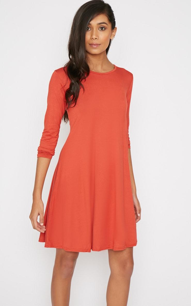 Rosie Burnt Orange Jersey Casual Swing Dress 4