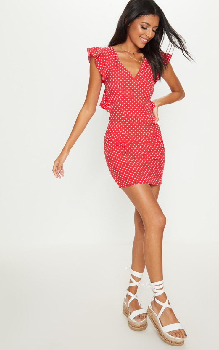 Red Polka Dot Frill Lace Up Back Bodycon Dress 4