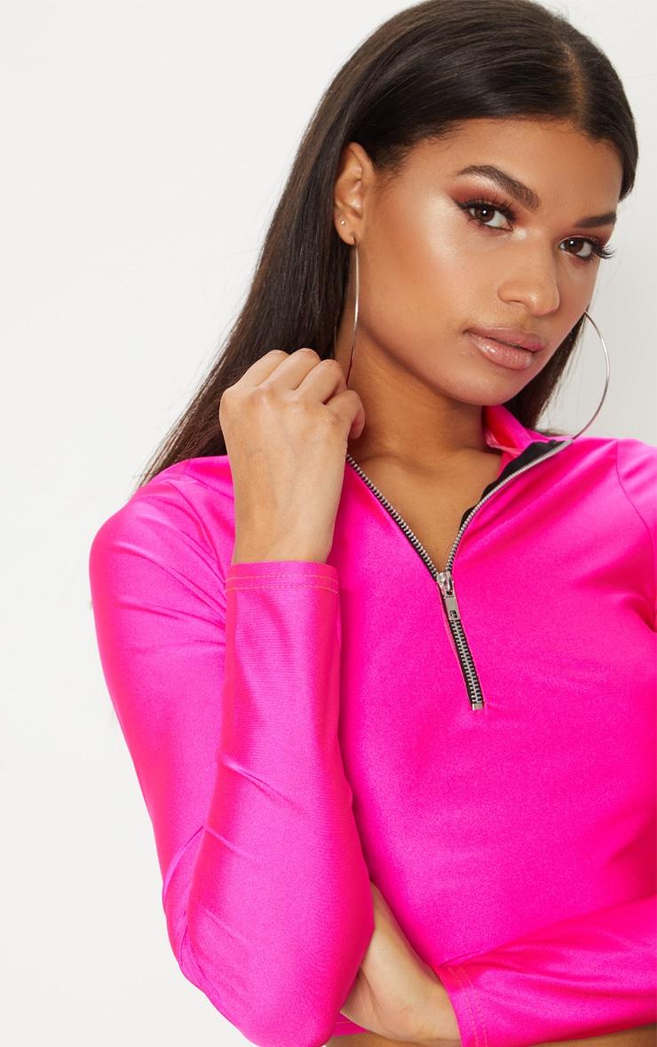 Hot Pink Disco Zip Front High Neck Long Sleeve Crop Top   6