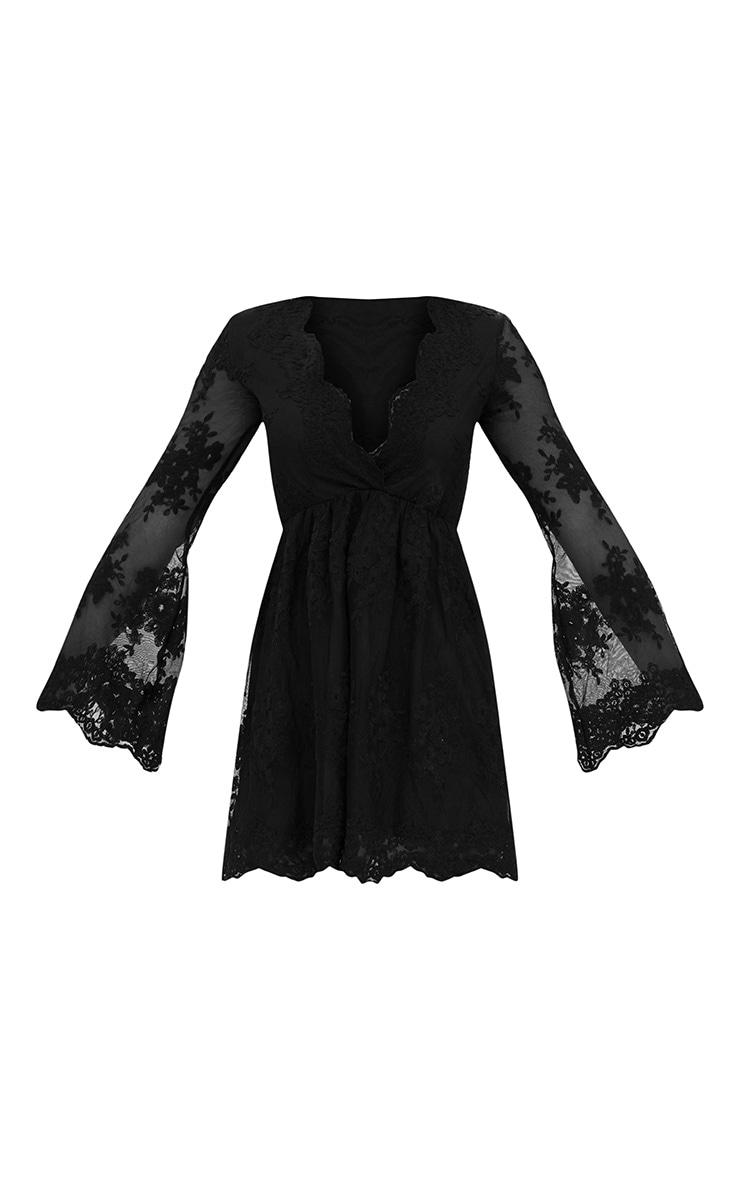Black Lace Plunge Bell Sleeve Skater Dress  3