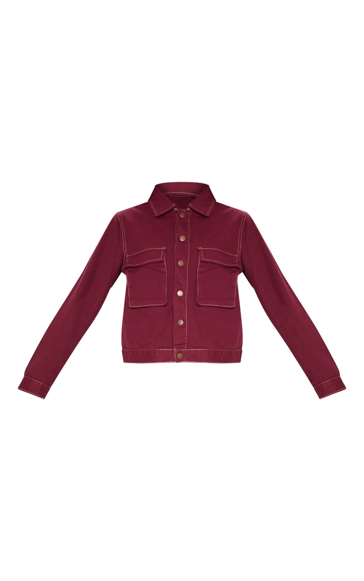 Burgundy Contrast Stitch Trucker Pocket Jacket 3