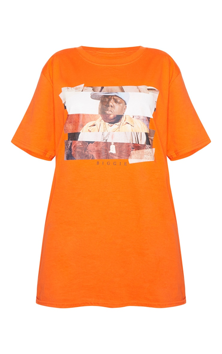 Orange Biggie Print Oversized T Shirt 4