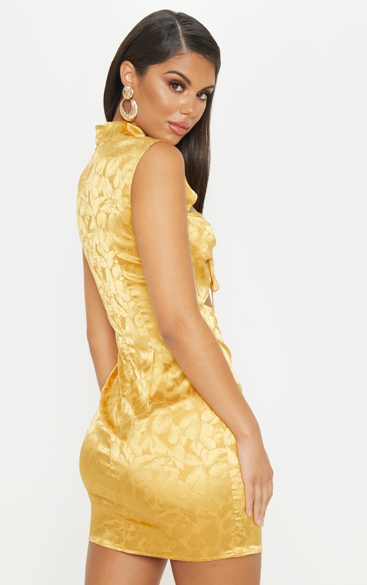 Mustard Floral Satin High Neck Cut Out Front Bodycon Dress 2