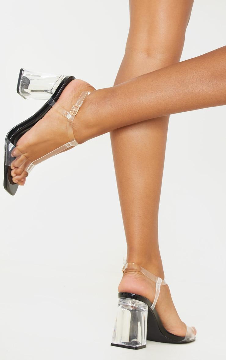 Black Clear Block Heel Strappy Sandal 1