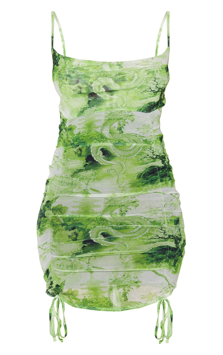 Lime Oriental Print Strappy Ruched Tie Hem Bodycon Dress 5