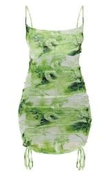 Lime Dragon Print Strappy Ruched Tie Hem Bodycon Dress 5