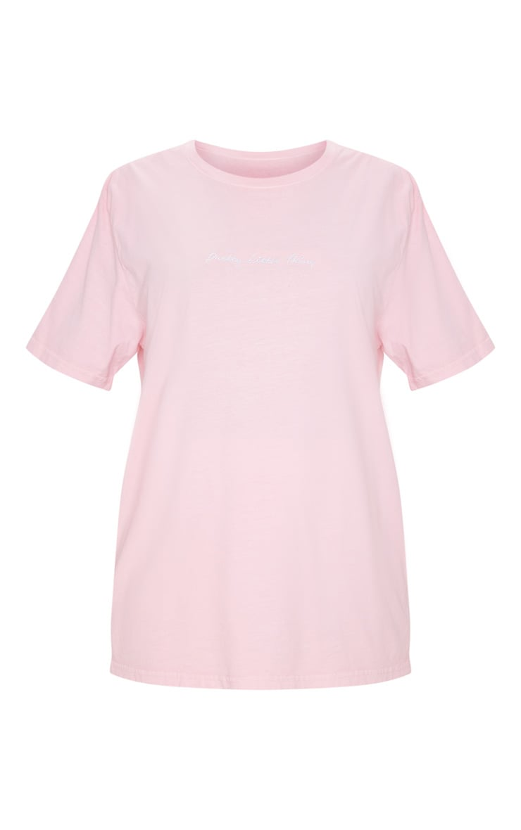 PRETTYLITTLETHING Pink Embroidered Wash T Shirt 6