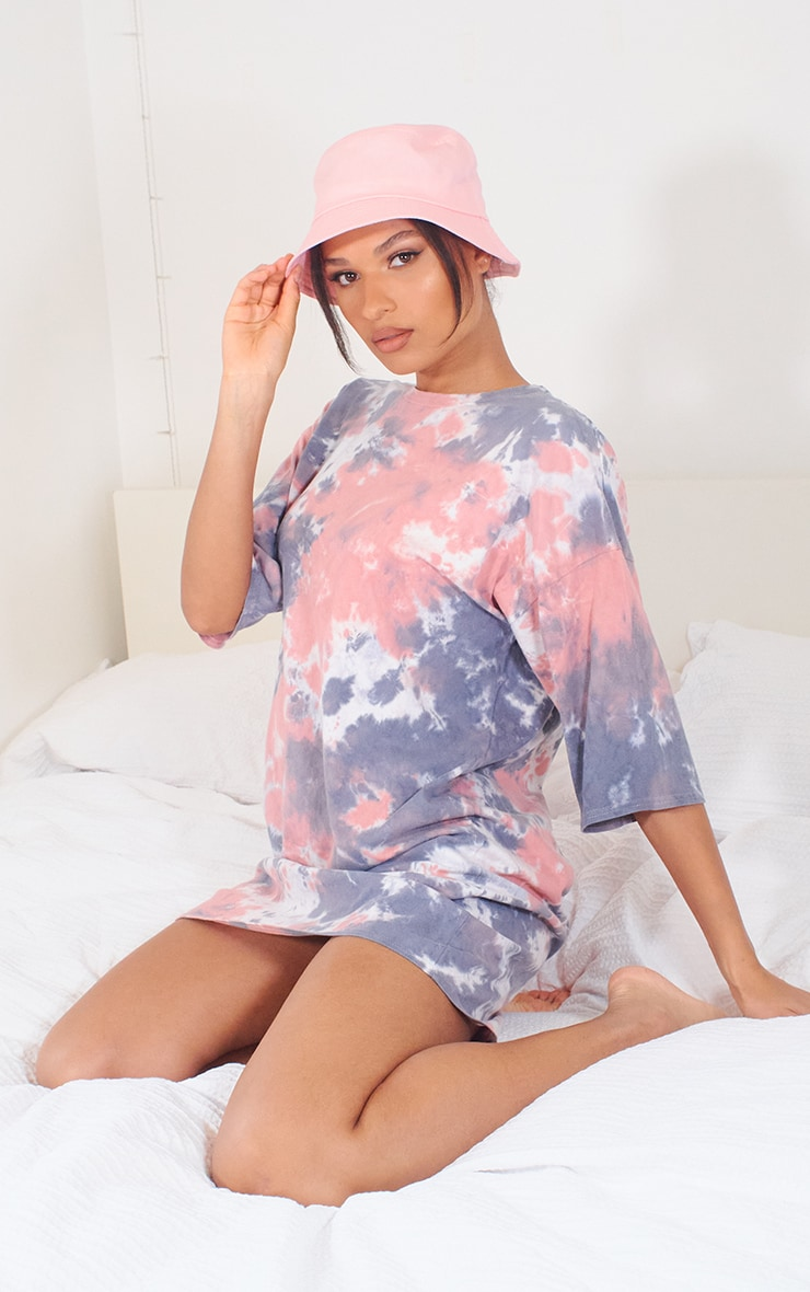 Nude Tie Dye T Shirt Boyfriend Dress 1