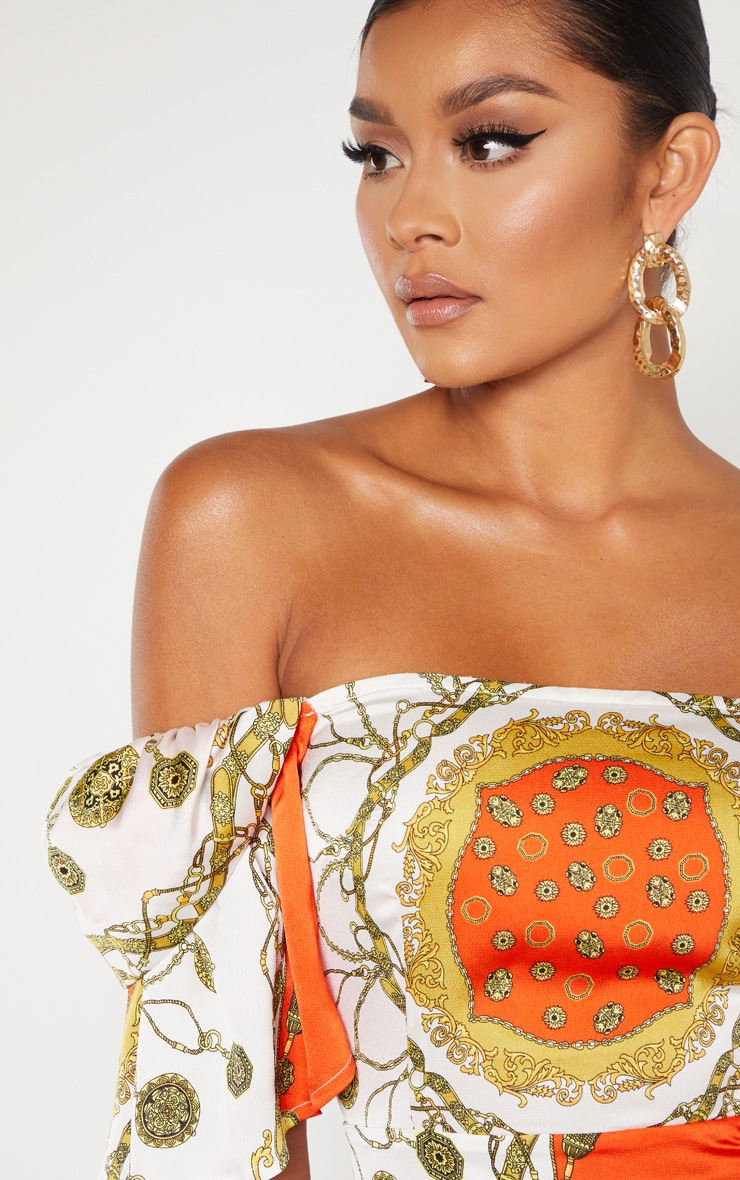 Orange Chain Print Bardot Shift Dress  5