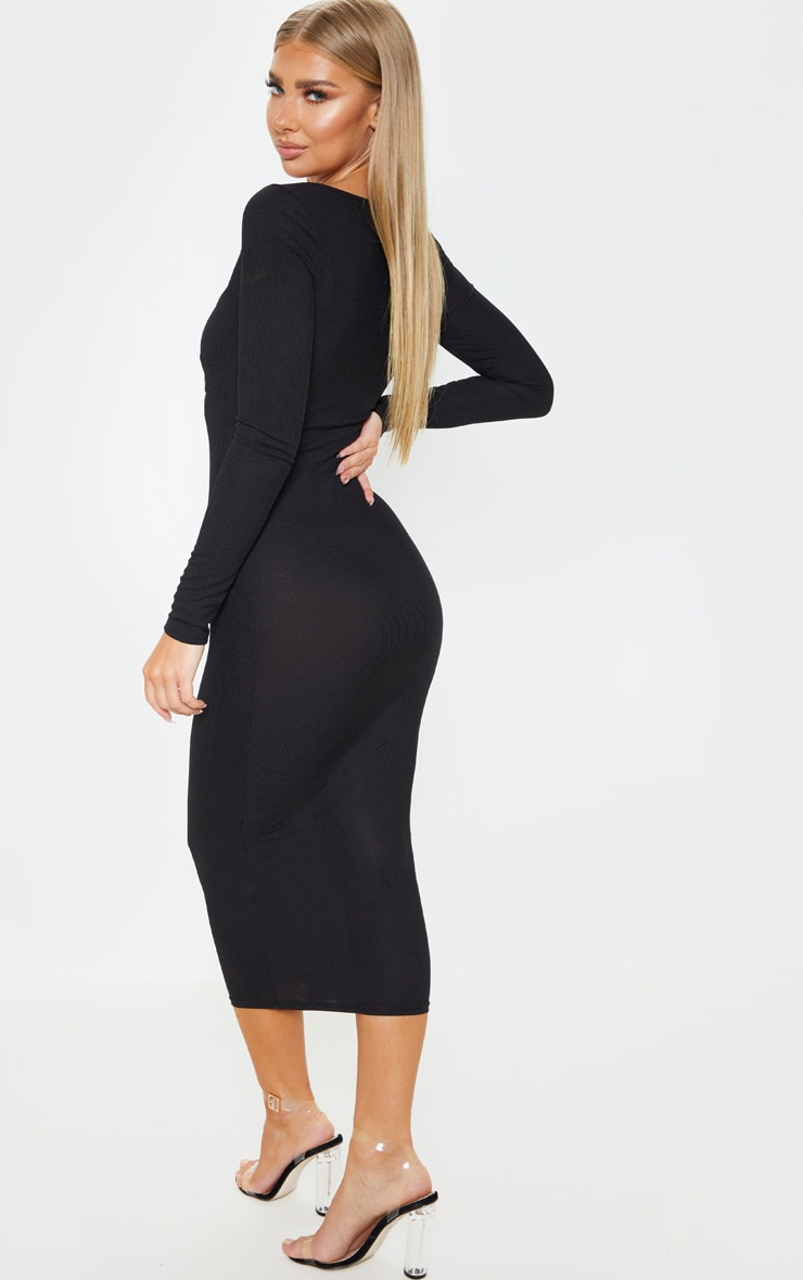 Black Ribbed Long Sleeve Cup Detail Midi Dress 2