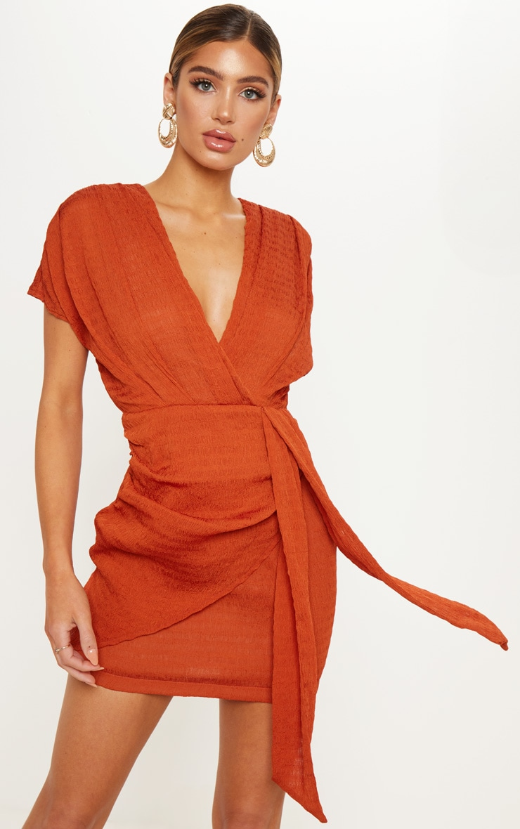 Burnt Orange Textured Drape Bodycon Dress 1