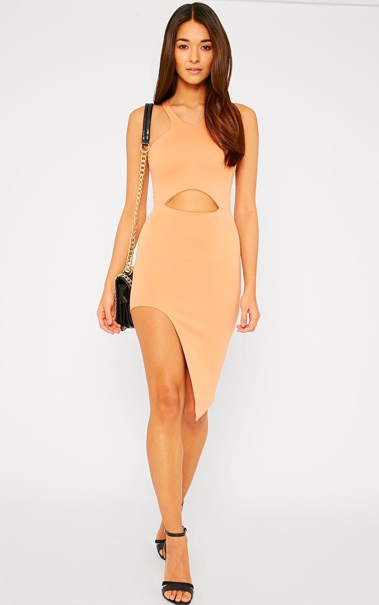 Sydney Camel Cut Out Curve Split Dress 1