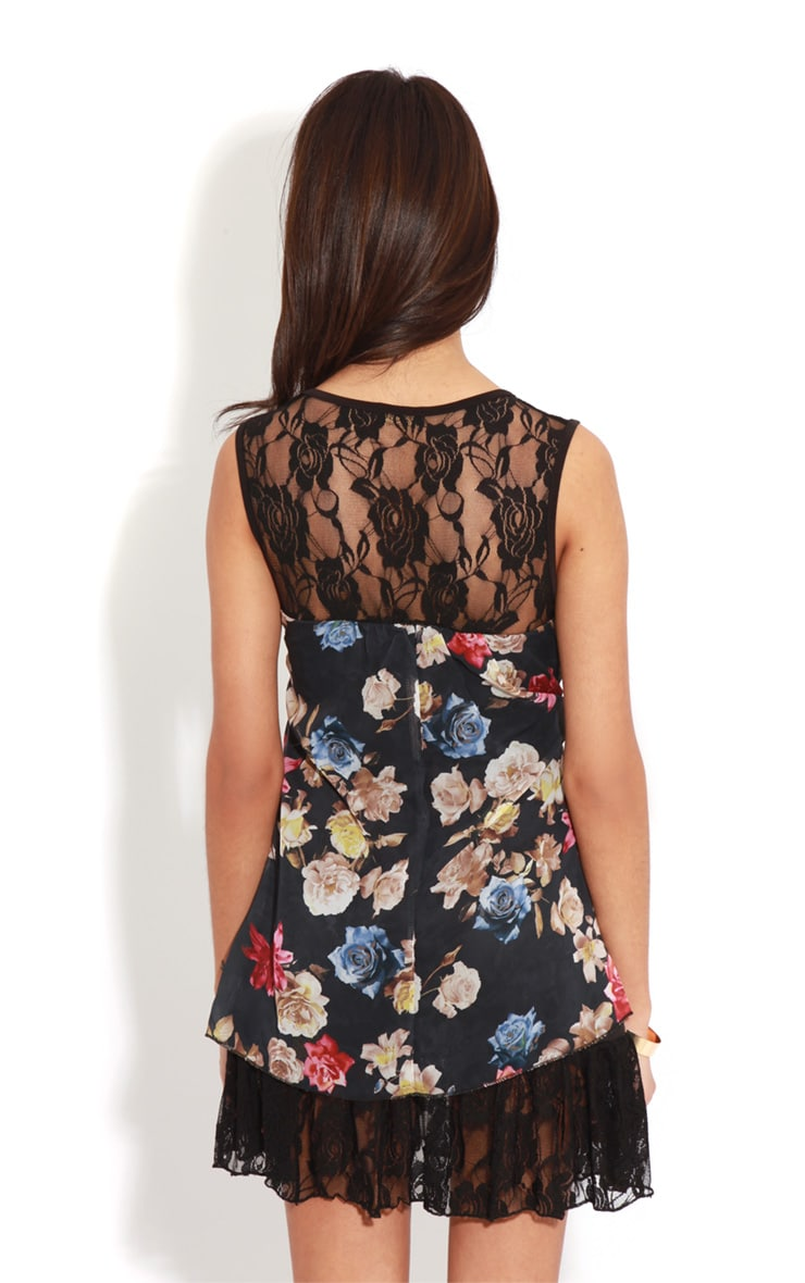 Ffion Floral Babydoll Dress With Lace Trim 2