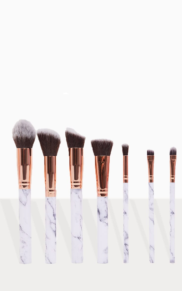 Zoe Ayla 7 Piece Marble Effect Make Up Brush Set with Leather Pouch 3