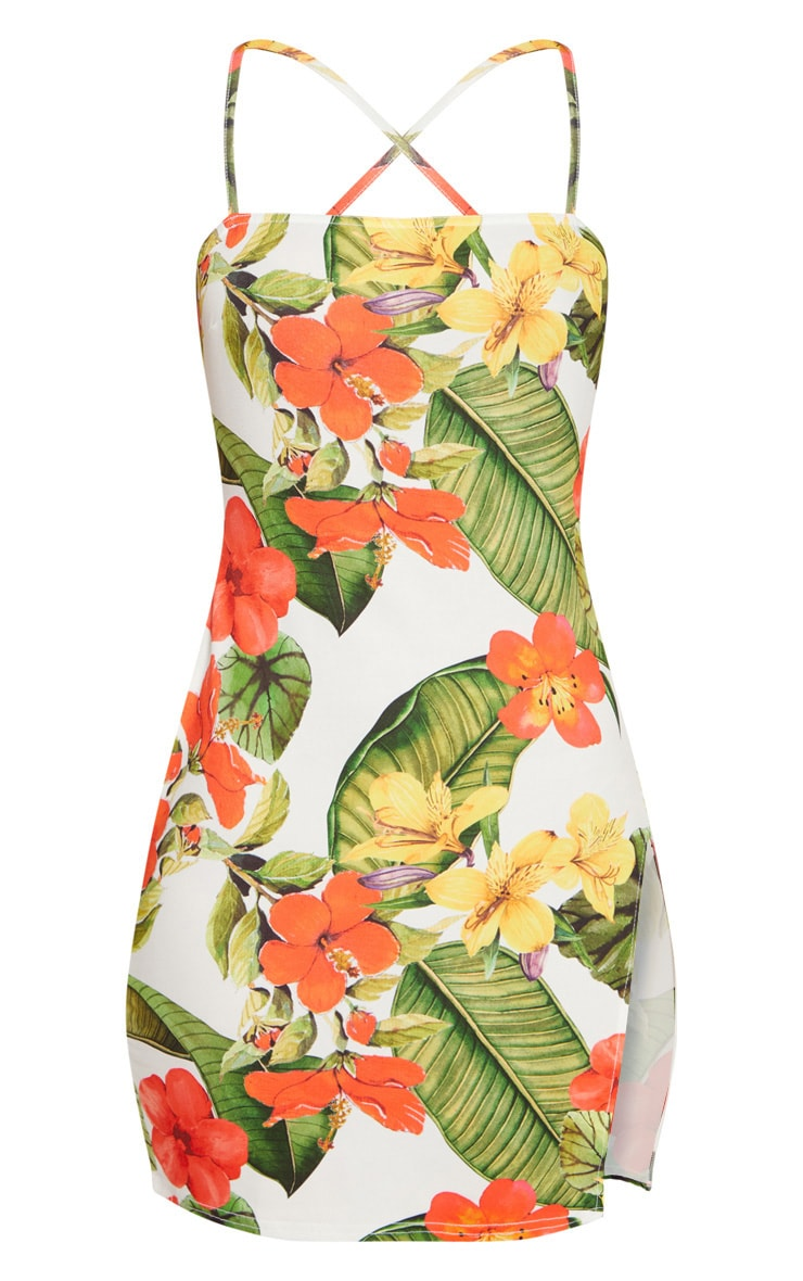 White Floral Square Neck Thigh Split Bodycon 4